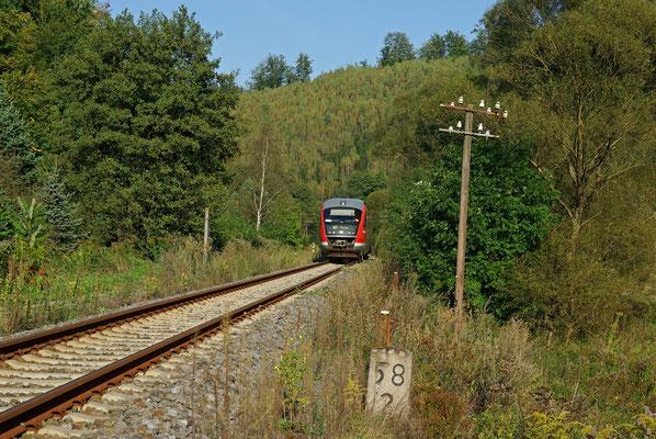 Kilometer 58,2 kurz vor Goßdorf-Kohlmühle: Die Regionalbahn Bad Schandau-Neustadt im schönen Spätsommerlichen Sebnitztal, 27.09.09