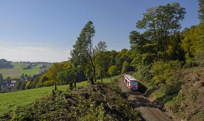 RS 1 von Neustadt nach Sebnitz oberhalb von Schönbach. September 2017.