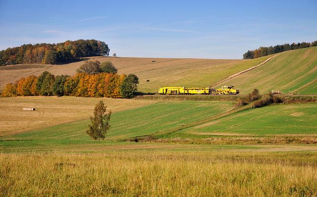 Auf der Strecke nach Pirna wurden u.a. die Bahnübergänge komplett erneuert, im Sebnitztal die Gleise in einigen Tunnels getauscht. Stopfexpress bei Langenwolmsdorf. 20.10.2012