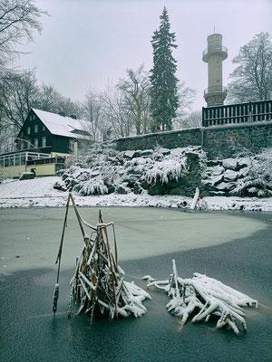 Während Neustadt im Tal sich am 1. Weihnachtsfeiertag in Grün präsentierte, verzauberte zumindest der höher gelegene Ungerberg mit einer schönen Winterlandschaft (Handyfoto), 25.12.18