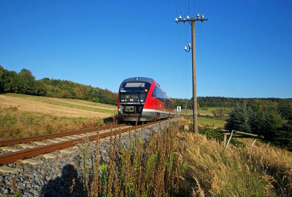 Der VT 642-038 von Bad Schandau kommend fährt hier bei Krumhermsdorf durch die warmen Farben ( 17°C ) der Abendsonne des 09. Oktober 2009 um in wenigen Minuten den Bahnhof Neustadt / Sachsen zu erreichen und die Reise nach Pirna fortzusetzen.