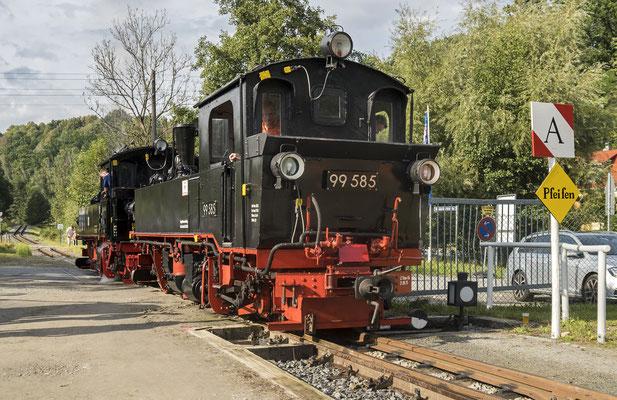 Rangierarbeiten mit 99 585 & 99 516 in Lohsdorf. 04.09.2020, Foto: Jannik Vogel