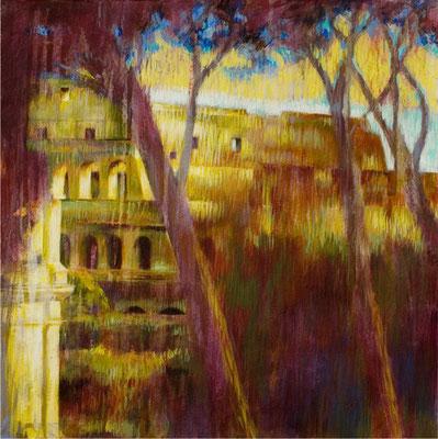 Arbres et Colisée, Rome - 40x40 cm - Acrylique sur toile