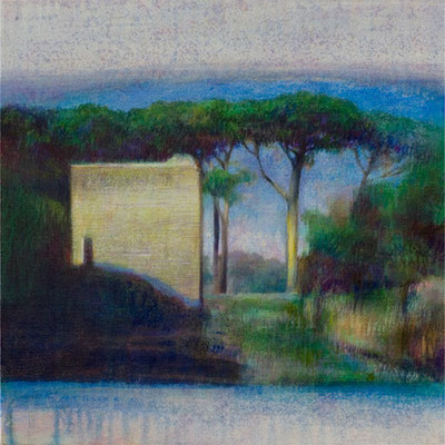 Sur le chemin d'Ostie - 40x40 cm - Acrylique sur toile