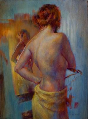 Sarah au miroir  81x60 cm - Acrylique sur toile