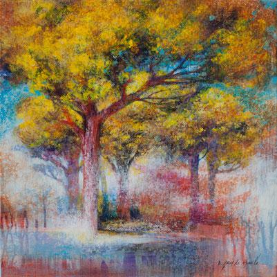 Nuage d'arbres - 40x40 cm - Acrylique sur toile