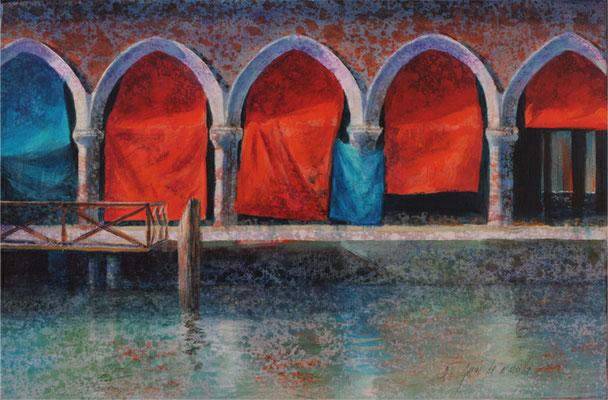 Les portes - 27x41 cm - Acrylique sur toile
