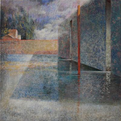 Forteresse fragiles - 40x40 cm - Acrylique sur toile