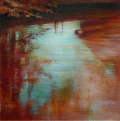 Reflets oranges - 30x30 cm - Acrylique sur toile