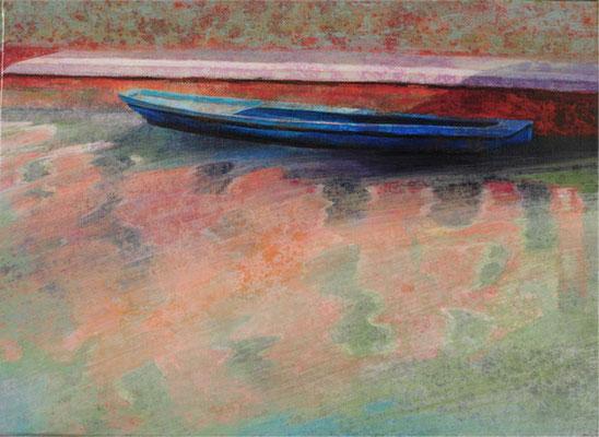 Barque, Venise - 24x33 cm - Acrylique sur toile