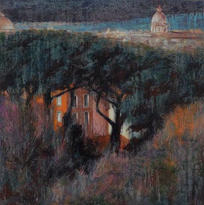 Paysage de Rome - 40x40 cm - Acrylique sur toile