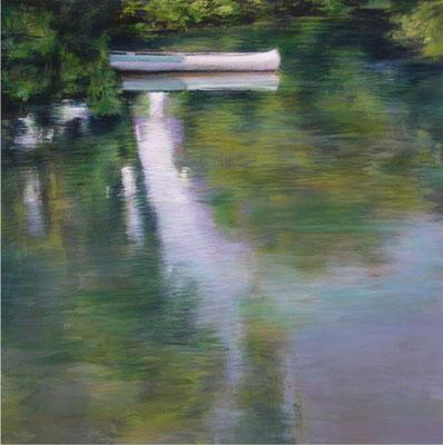 Reflet à la barque - 60x60 cm - Acrylique sur toile