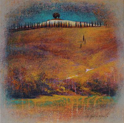 Colline Toscane - 40x40 cm - Acrylique sur toile