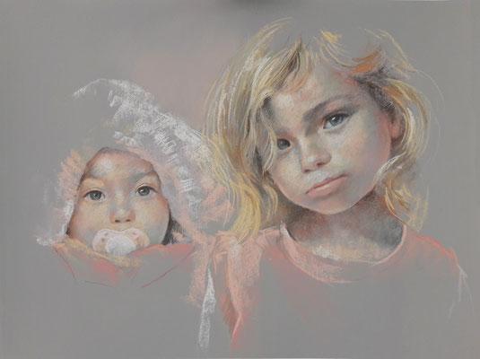 Les enfants d'Aurélie - 50x60 cm - Pastel