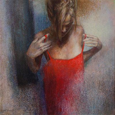 Soie Rouge - 60x60 cm - Acrylique sur toile