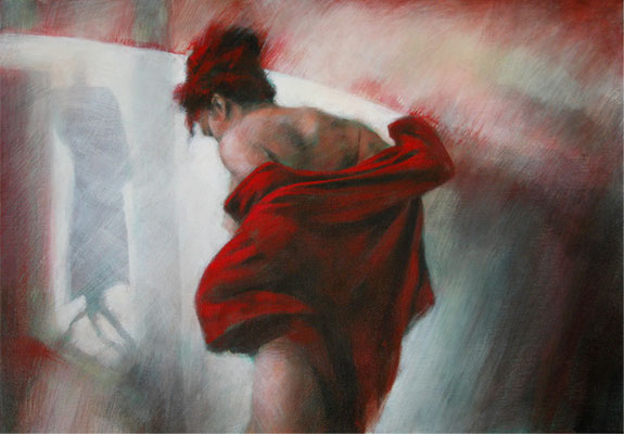 La veste rouge - 65x92 cm - Acrylique sur toile