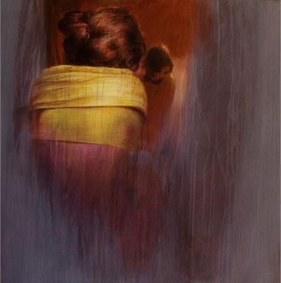 Étole jaune - 80x80 cm - Acrylique sur toile