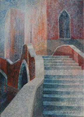 La maison des pluies - 46x33 cm - Acrylique sur toile