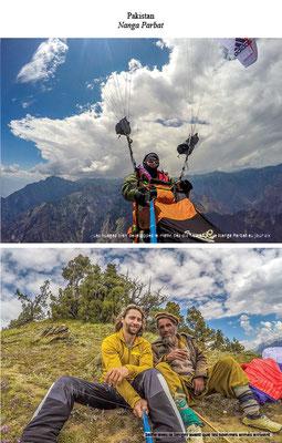 Une photo en vol parapente et une photo avec un local