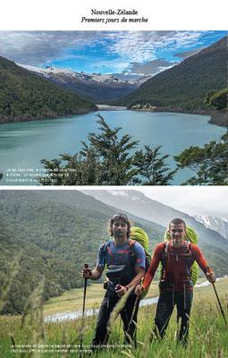 Deux photos, une ou l'on voit un grand lac et une avec les deux aventuriers