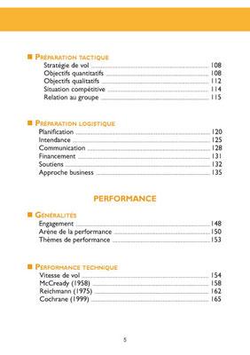 Sommaire du livre Parapente performance