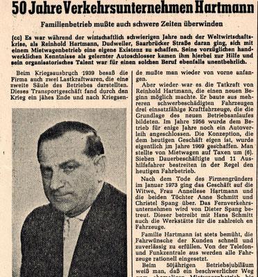 Zeitungsbericht über Firmengründer Reinhold Hartmann 1980