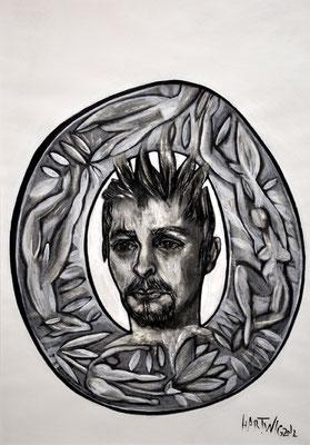 Portrait M.Ö.  2012, 50 x 70 cm,  Holzkohle, Sibierische Kreide, Ölkreide, Acryl