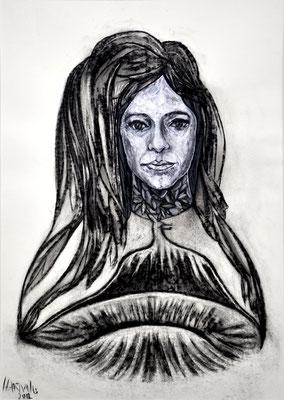 Portrait A.P.  2012, 50 x 70 cm,  Holzkohle, Sibierische Kreide, Ölkreide, Acryl