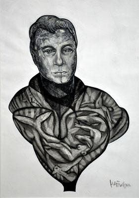 Portrait T.K.  2012, 50 x 70 cm,  Holzkohle, Sibierische Kreide, Ölkreide, Acryl