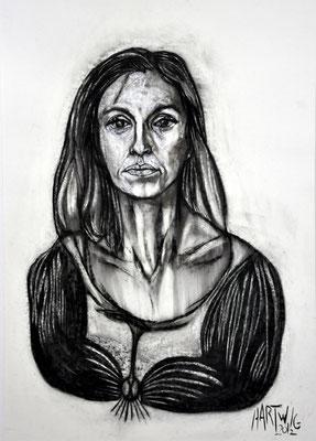 Portrait M.H.  2012, 50 x 70 cm,  Holzkohle, Sibierische Kreide, Ölkreide