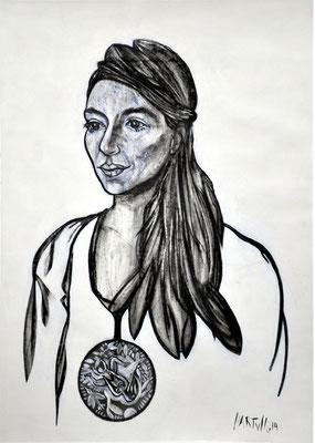 Portrait P.R. 01  2014, 50 x 70 cm,  Holzkohle, Sibierische Kreide, Ölkreide, Acryl