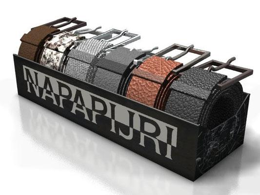 Progetto NAPAPIJRI espositore da banco in metallo