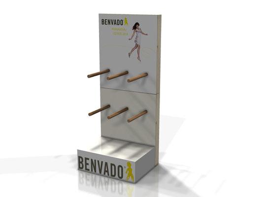 Progetto BENVADO Espositore da banco in legno