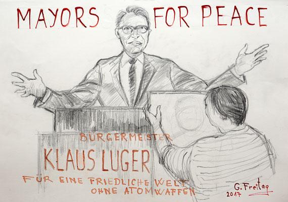 Gazmend Freitag malt Klaus Luger © NORDICO Stadtmuseum Linz