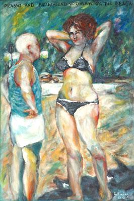 PICASSO AND BIKINI-CLAD ON THE BEACH    2012, Öl auf Leinwand, 80 x 120 cm