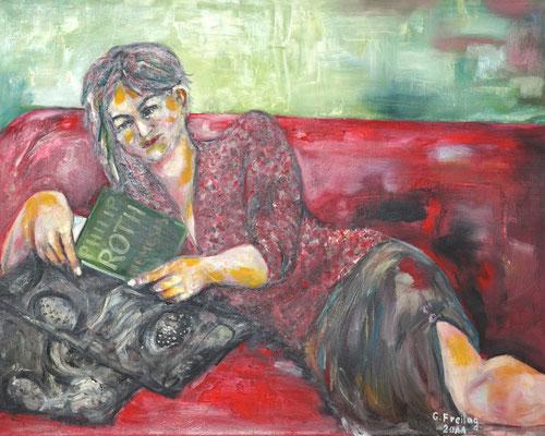 NADEGE BEIM LESEN   2012, Öl auf Leinwand, 100 x 80 cm