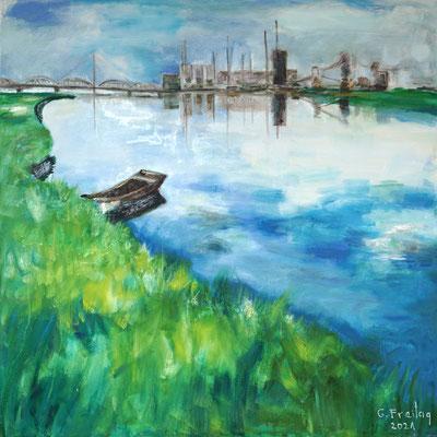 DONAU LINZ | 2021, Öl auf Leinwand, 120 x 120 cm