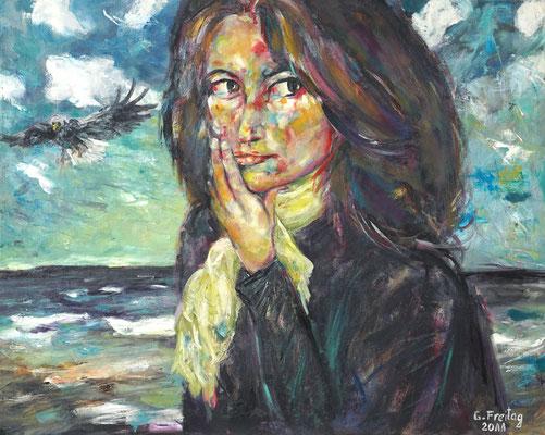 NADEGE AM MEER | 2011, Öl auf Leinwand, 100 x 80 cm