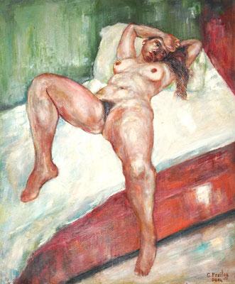 NUDE ON BED   2014, Öl auf Leinwand, 100 x 120 cm