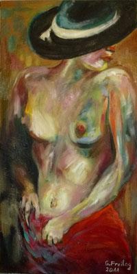 AKT MIT SCHWARZEM, Öl auf Leinwand, 50 x 100 cm