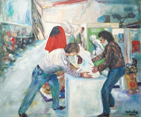 ATELIER 1, 2014, Öl auf Leinwand 120 x 100 cm