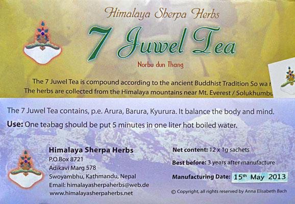 Sherpa Herbs, 7 Juwel Tea, 6 euro, Kräutertee vom Fuße des Mount Everest, in 4000 meter Höhe gewachsen