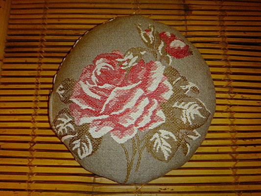 Stuhl Kissen, Rund, Rose auf Hanfgewebe, 32 euro , Rosa, Beige