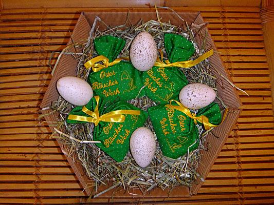 Osterräucherung mit besticktem Beutel und Beschreibung, 16 euro