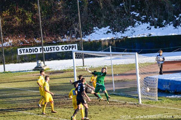 2014-15 Derthona-Sporting Bellinzago Simone Baudinelli sigla l'1-0