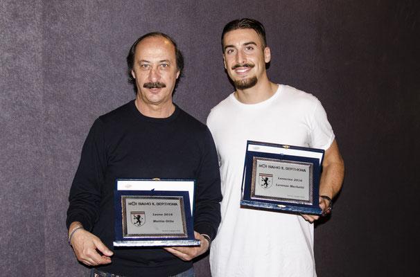Il Leone Mattia Gilio (qui suo padre in delega) ed il Leoncino 2016 Lorenzo Mechetti