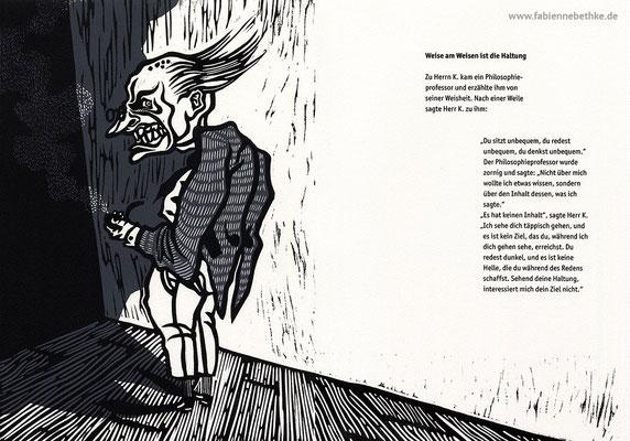 Brechts Geschichten vom Herrn Keuner: Weise am Weisen ist die Haltung (Linolschnitt, Siebdruck, Bütten)