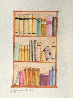 Academic Gnome in Bookshelf May 27 2017