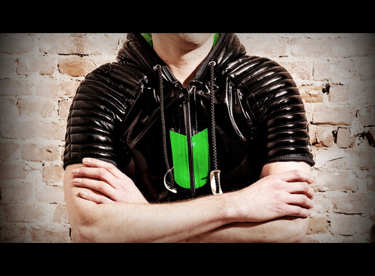 rubber top with padded sleeves and hood