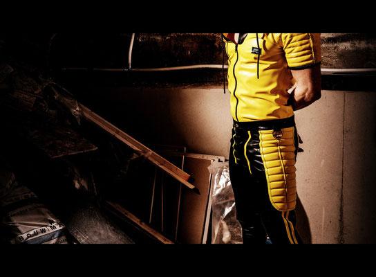 Padded zip through leggings